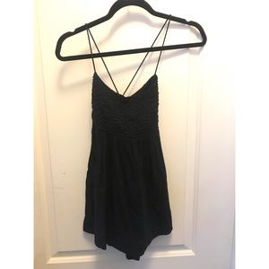 Embroidered Criss Cross Black Free People Tank XS
